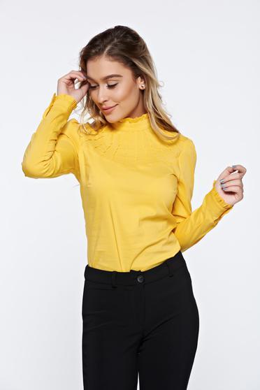 Sárga Fofy irodai női ing rugalmas pamut