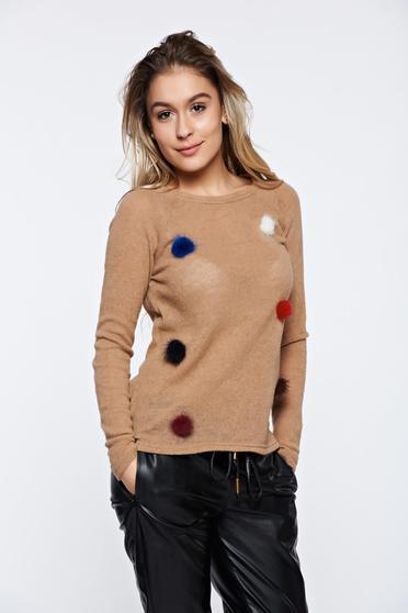 Krém PrettyGirl hétköznapi kötött pulóver műszőrme berakások