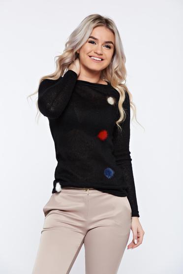Fekete PrettyGirl hétköznapi kötött pulóver műszőrme berakások