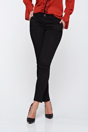 Fekete PrettyGirl irodai kónikus pamutból készült nadrág normál derekú