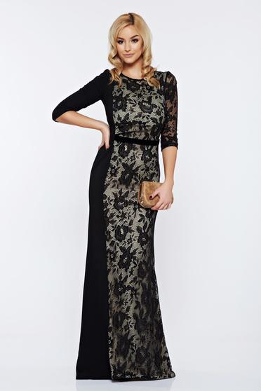 Fekete StarShinerS alkalmi hosszú szirén tipusú ruha csipke díszítéssel