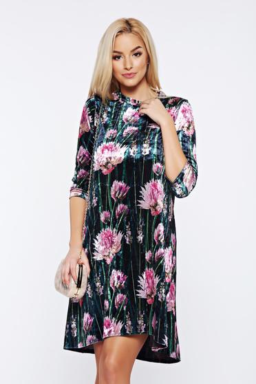 Fekete StarShinerS hétköznapi a-vonalú bársony virágmintás ruha
