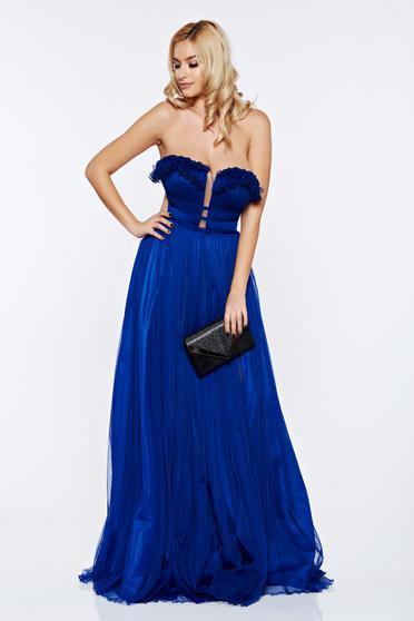 Kék Ana Radu hosszú alkalmi ruha szivacsos mellrész