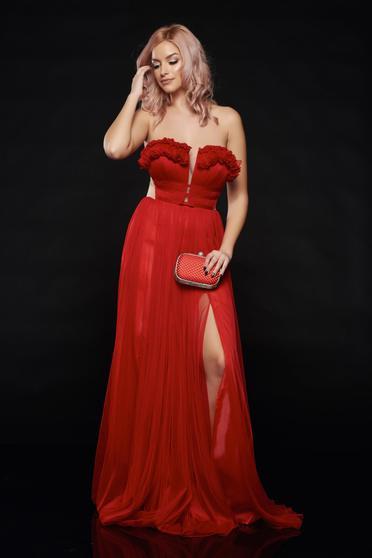 Piros Ana Radu hosszú alkalmi ruha szivacsos mellrész