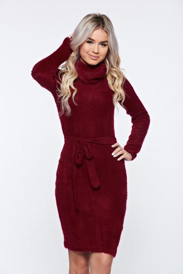 Burgundy PrettyGirl magasnyakú hétköznapi kötött ruha puffos anyagból
