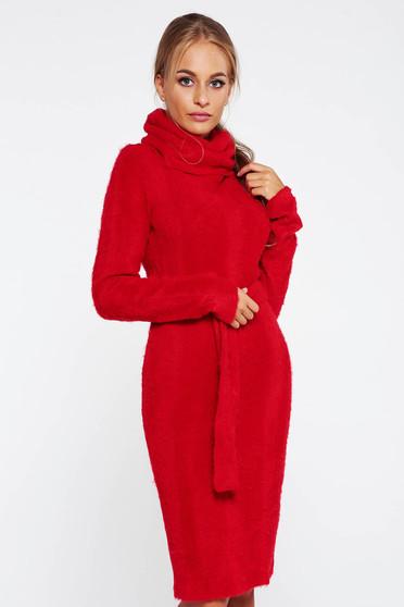 Piros PrettyGirl magasnyakú hétköznapi kötött ruha puffos anyag