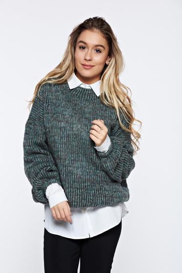 Türkiz PrettyGirl hétköznapi pulóver kötött puha anyag