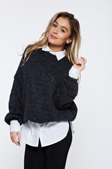 Sötétszürke PrettyGirl hétköznapi pulóver kötött puha anyagból