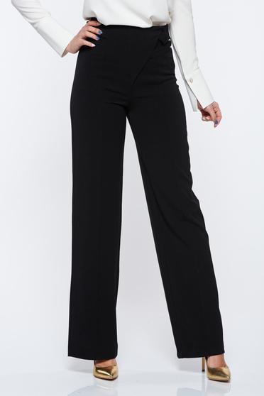 Fekete PrettyGirl irodai bő szabású magas derekú nadrág