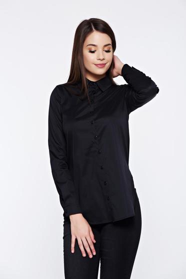 Fekete PrettyGirl irodai pamutból készült bő szabás női ing