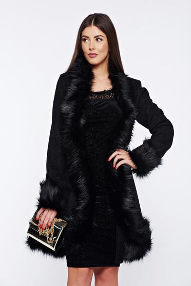 Fekete Ana Radu elegáns gyapjú nagykabát műszőrme berakásokkal