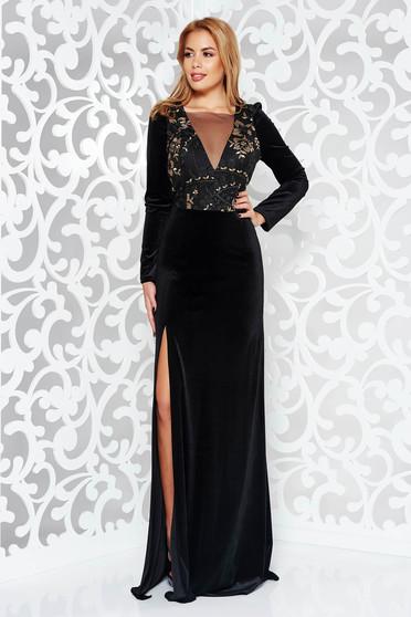 Alkalmi hosszú ujjú Artista ruha fekete bársony