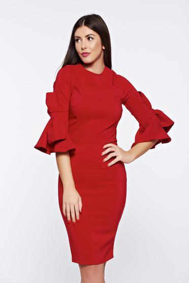 Piros Artista elegáns hétköznapi ruha masnikkal van ellátva