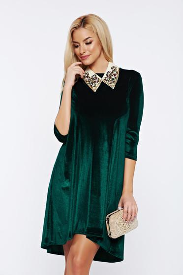 Zöld StarShinerS ruha aszimetrikus bő szabású bársony