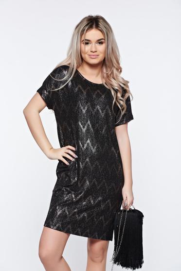 Fekete Top Secret alkalmi bő szabású ruha fémes jelleggel