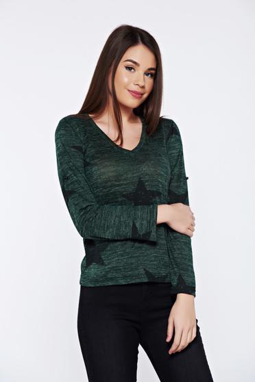 Zöld PrettyGirl hétköznapi bő szabású pulóver v-dekoltázzsal