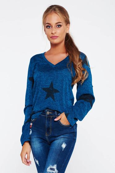 Kék PrettyGirl hétköznapi bő szabású pulóver v-dekoltázzsal