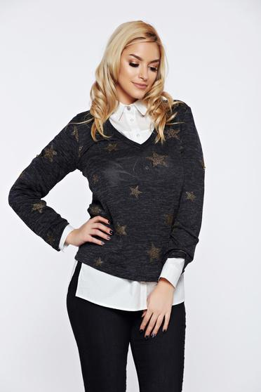 Fekete PrettyGirl hétköznapi bő szabású pulóver v-dekoltázzsal