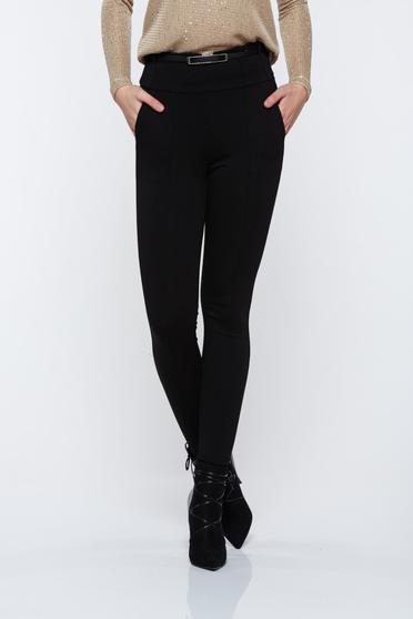 Fekete Top Secret magas derekú kónikus zsebes nadrág