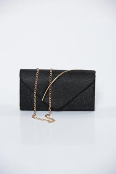 Fekete alkalmi táska csillogó díszítések lánccal