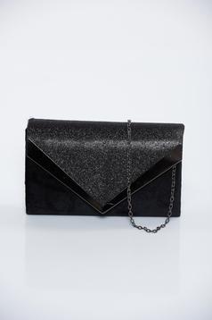 Fekete alkalmi bársony táska csillogó díszítésekkel