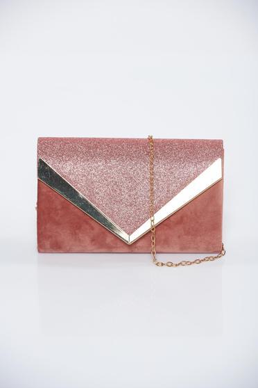 Rózsaszínű alkalmi bársony táska csillogó díszítések
