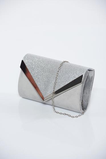 b3dc5bbb9b4b Ezüst alkalmi bársony táska csillogó díszítések - Táskák