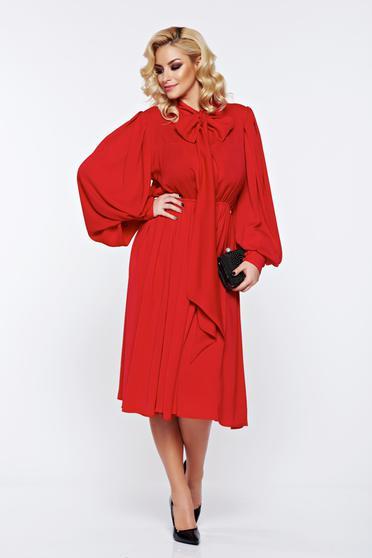 Piros Ana Radu hosszú ujjú alkalmi ruha fátyol anyagból