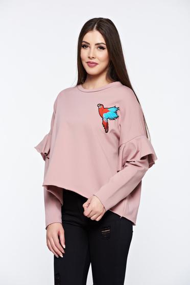Rózsaszínű hétköznapi bő szabású hímzett pulóver fodrozott ujjakkal