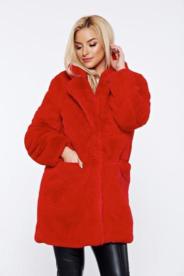 Piros elegáns szőrme elől zsebek belső béléssel