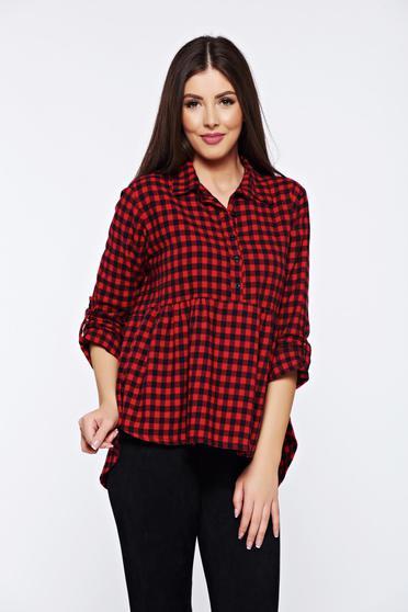 Piros hétköznapi bő szabású kockás női ing