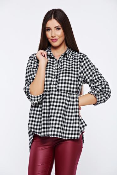Fekete hétköznapi bő szabású kockás női ing