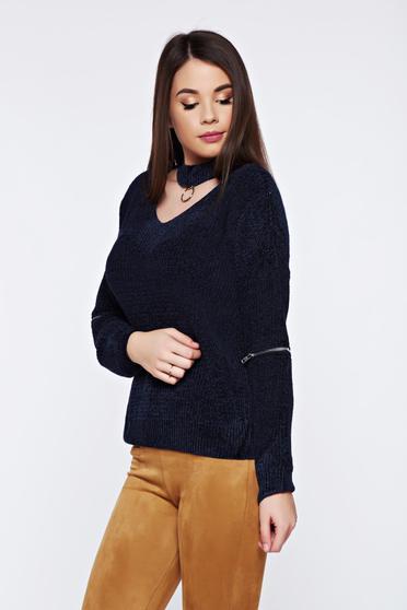Kék hétköznapi bő szabású kötött bársony pulóver
