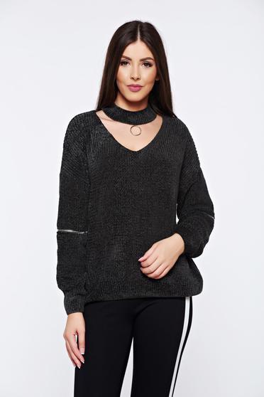 Sötétzöld hétköznapi bő szabású kötött bársony pulóver