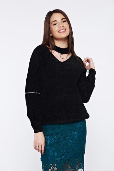 Fekete hétköznapi bő szabású kötött bársony pulóver