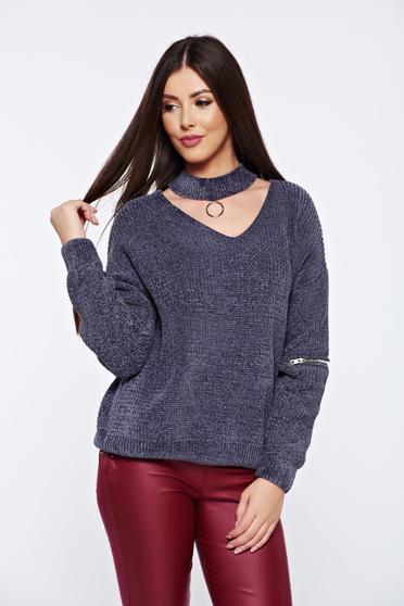 Szürke hétköznapi bő szabású kötött bársony pulóver