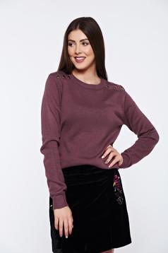 Lila Top Secret hétköznapi kötött pulóver fém díszítések