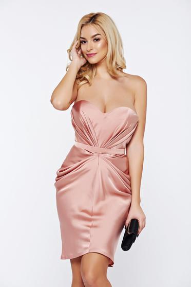 Rózsaszínű Ana Radu alkalmi ruha szatén anyagból