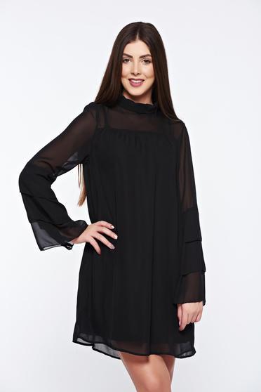 Fekete Top Secret ruha hosszú ujjakkal lenge anyagból
