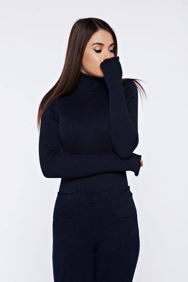 Sötétkék StarShinerS hétköznapi szűk szabású kötött magasnyakú pulóver rugalmas pamutból