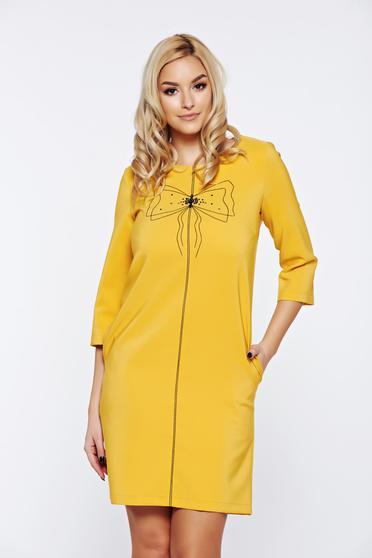 Sárga LaDonna hétköznapi bő szabású ruha hímzett betétekkel