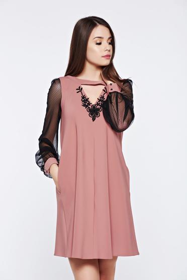 Rózsaszínű LaDonna elegáns hétköznapi ruha csipke ujj