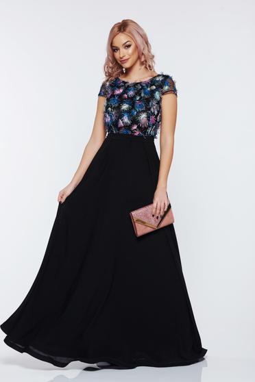Fekete StarShinerS alkalmi harang ruha fátyol anyagból