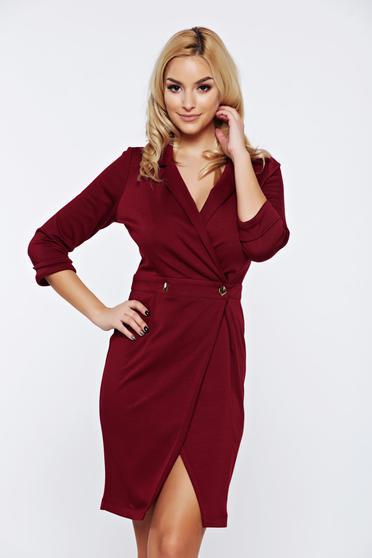 Burgundy PrettyGirl átfedéses dekoltált elegáns hétköznapi ruha