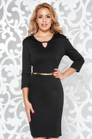 Fekete PrettyGirl irodai ceruza ruha öv típusú kiegészítővel