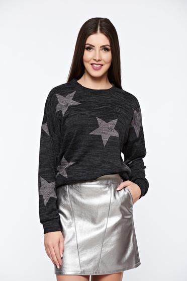 Sötétszürke PrettyGirl hétköznapi kötött bő szabás pulóver nyomtatott mintával