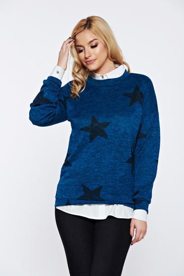Türkiz PrettyGirl hétköznapi kötött bő szabás pulóver nyomtatott mintával