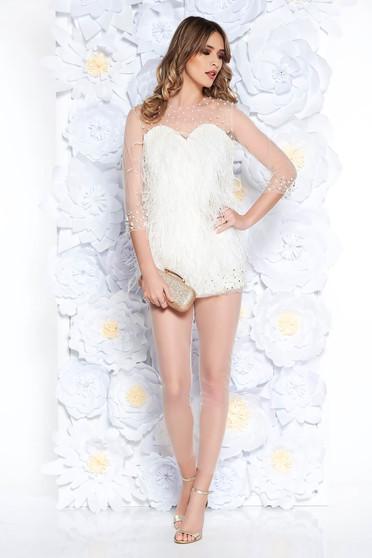 Fehér Ana Radu alkalmi női szett gyöngyös díszítés gyöngy díszítéssel