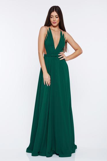 Zöld Ana Radu alkalmi ruha fátyol v-dekoltázzsal