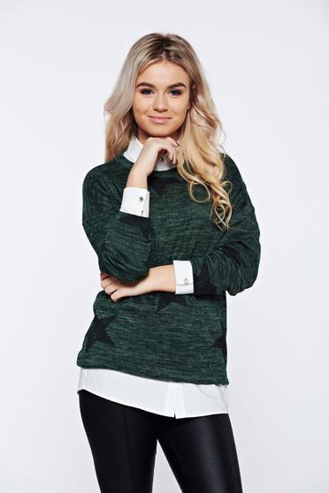 Sötétzöld PrettyGirl hétköznapi kötött bő szabás pulóver nyomtatott mintával